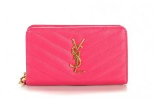 サンローランパリ 二つ折り財布 レザー キルティング ピンク