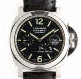 パネライ ルミノール パワーリザーブ  PAM00090 SS/革ベルト ブラック