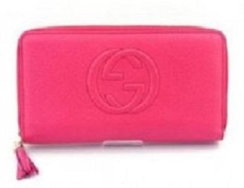 グッチ ラウンドファスナー 長財布 カーフ型押し ピンク