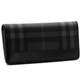 バーバリー PVC ダークグレー×ブラック 長財布 3801353-PCLE-0010T