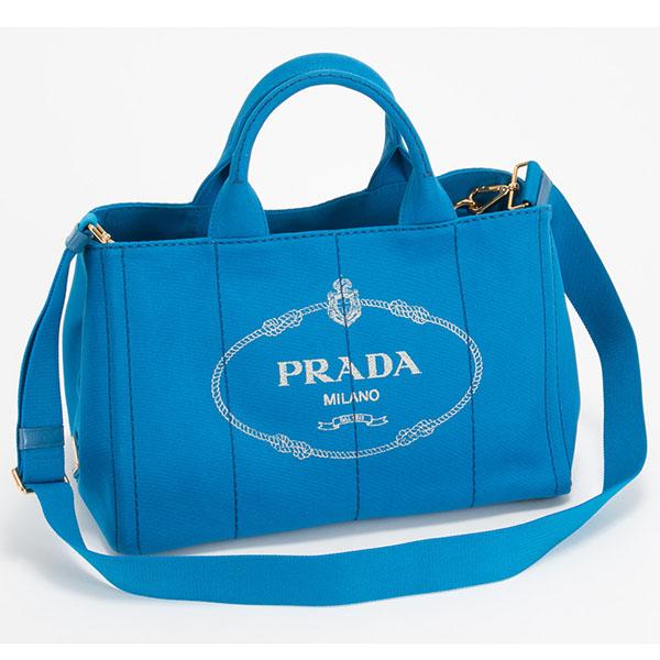 プラダ カナパ Lサイズ ブルー