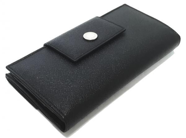 ブルガリ 長財布 型押しレザー 黒