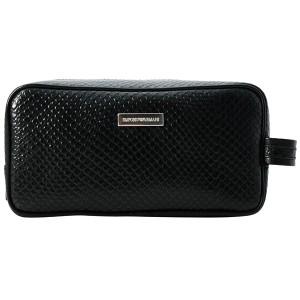 エンポリオアルマーニ カーフ ブラック セカンドバッグ