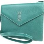 イヴサンローラン ブルー ロゴ刺繍 クラッチ バッグ
