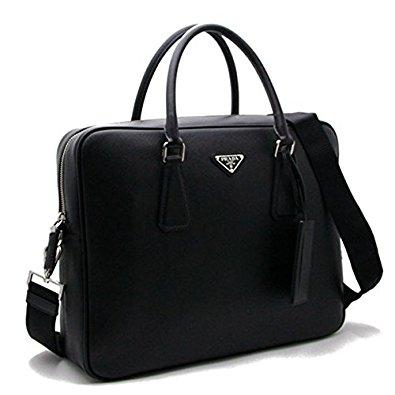 プラダ ビジネスバッグ カーフスキン ブラック